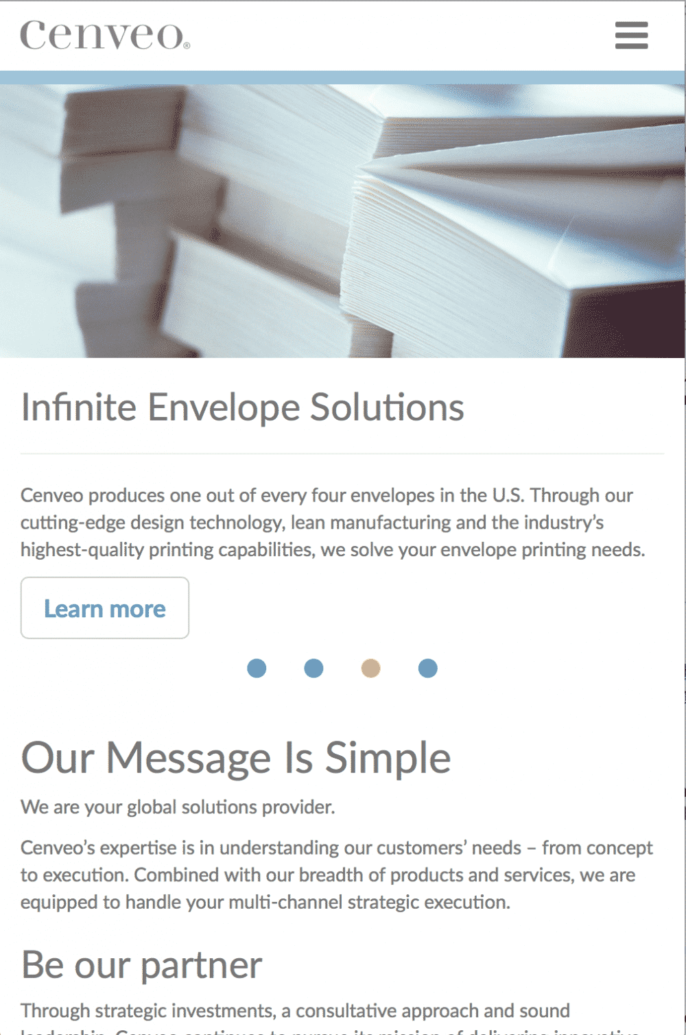 Cenveo Envelopes' Mobile Responsive page launched in Kentico