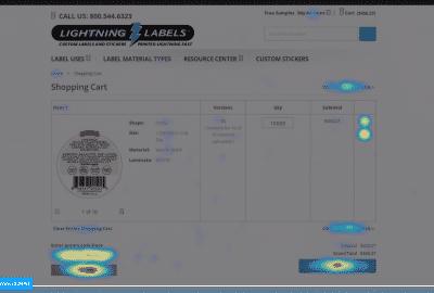 Lightning Labels' eCommerce Hotjar Heatmap Page