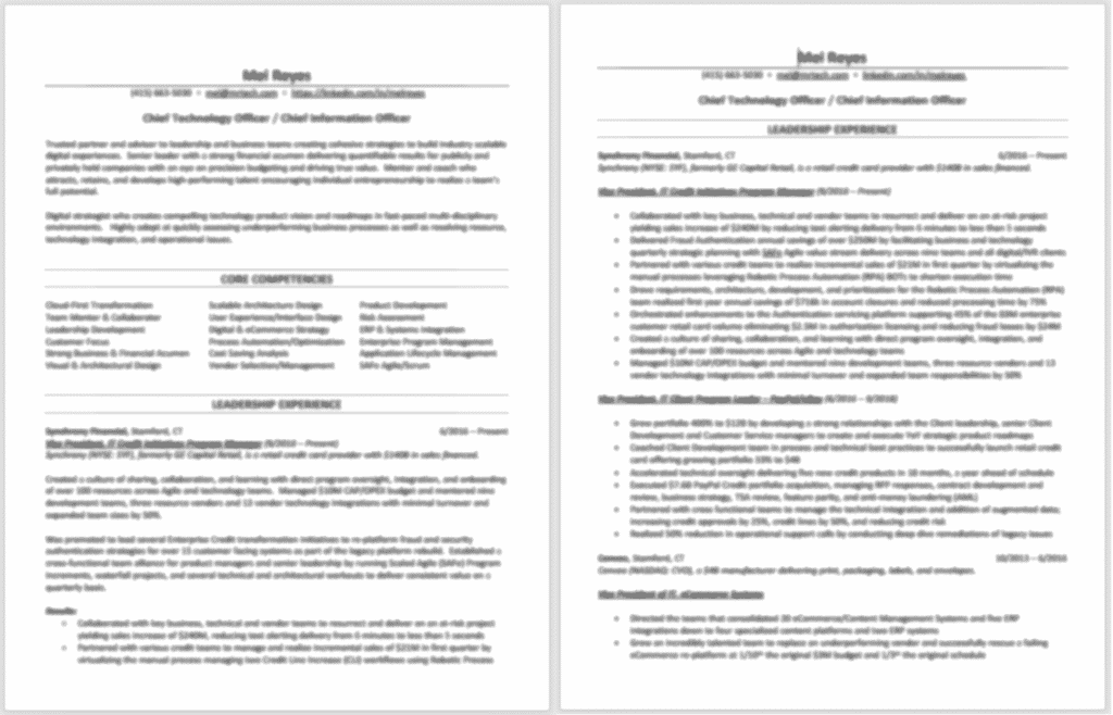 Long and Short Form Resume
